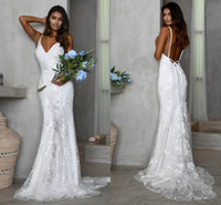 Wholesale organza mermaid ruffle wedding dress for sale - Group buy 2020 Cheap Spaghetti Open Back Lace Appliqued Mermaid Wedding Dresses Cheap Summer Beach Bohemian Bridal Gown IN Stock
