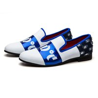 Wholesale comfort work shoes resale online - New Men s Outdoorcasual Shoes Blue and White With Denim Work Gentry Metal Round Toes Party Shoe Driving Comfort shoes Fashion Loafers