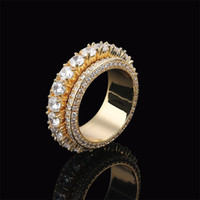 Wholesale men hiphop ring resale online - Size Row Men Rotatable Rotate Iced Out Ring Gold Silver Color Cubic Zircon HipHop Jewelry