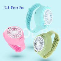 Wholesale cartoon folding fan for sale - Group buy 2020 Watch Fan Portable Mini Fan Cartoon Watch Shape Folding Fashion Pocket USB Rechargeable Fan
