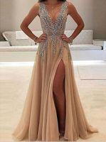 vestido sexy banquete al por mayor-lentejuelas Señora de noche atractivo profundo partido de los vestidos vestido de fiesta V Banquete largo vestido con apliques Vestido de festa sleevesless