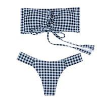bando ücretsiz gönderim toptan satış-Straplez Damalı Büzgülü Bikini Smocked Bandeau Mayo Seksi Tanga Designeri Mayo Kadınlar Mayo Ücretsiz Kargo