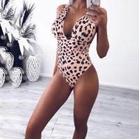 uma peça leopardo swimsuits cópia venda por atacado-2019 HISIMPLE New Sexy profundo decote em V Push Up acolchoado Bikini Bodysuit Monokini Leopard print One Piece Swimsuit Mulheres Swim