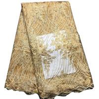 schwarze guipure spitze stoff großhandel-Schwarz Afrikanisches Spitzegewebe Hohe Qualität Guipure-spitze Für Hochzeitskleid Baumwollspitze Mit Steinen Nigerianischen Schweizer Stoffe BL120