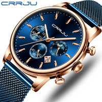 Wholesale wrist watches for men for sale - Group buy Relogio Masculino CRRJU Luxury Quartz Watch for Men Blue Dial Watches Sport Watches Chronograph Clock Mesh Belt Wrist Watch