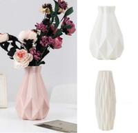 Wholesale ceramic pots for flowers resale online - Flower Vase Decoration Home Plastic Vase White Imitation Ceramic Flower Pot Flower Basket Nordic Decoration Vases for Flowers