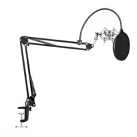 Wholesale kit karaoke resale online - Microphone Suspension Boom Scissor Arm Stand with Mic Clip Holder Table Mounting Clamp Kit for Condenser Microphone