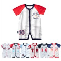 Wholesale baby baseball sleeves resale online - Baseball Baby Clothes Striped Boys Rompers Cotton Sports Newborn Jumpsuits Short Sleeve Infant Outfits Summer Baby Clothing Designs YW3334