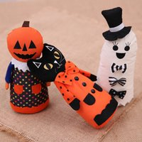 Wholesale pumpkin decor resale online - 2019 NEW Halloween Decoration Standing Halloween Doll White Ghost Witch Black Cat Pumpkin Toys Home Party Decor Accessories
