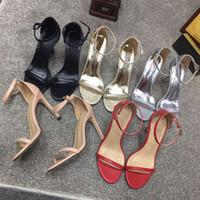 afbc72b17655 Sandales à lanières femmes chaussures à talons hauts sandales en cuir de  luxe designer bout rond sandales Stiletto chaussures de soirée de mode rouge  noir ...