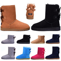 Wholesale flat knee high boots women resale online - Newest Winter Snow Boots for Women designer Australia Womens Short bow boots Ankle Knee Bow girl pink black MINI Bailey Boot