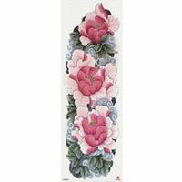 şakayık dövmesi toptan satış-1 Parça Pembe Şakayık Çiçek Desen Kol Dövme Sanatı Ile Geçici Dövme Etiket Büyük Kollu Büyük Sahte Dövme Etiket