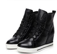 sneakers spitze keil high heels großhandel-2019 Herbst Schnürer Hoch-Spitze-echtes Leder-Schuh-Frauen-Turnschuhe High Heels erhöhen Innerhalb Wedges Casual Schuhe plus Samt Winter