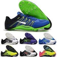 espigas de fútbol sala al por mayor-Nueva llegada 2019 Mens Sprint Spikes Cuero Botas de fútbol para interiores Botas de fútbol Nemeziz negras de alta calidad Zapatos Envío rápido Tamaño 39-45