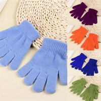 Wholesale skateboarding gloves resale online - Outdoor Autumn And Winter Monochrome Children s Warm Gloves Creative Acrylic Knitted Gloves All Finger Magic Gloves