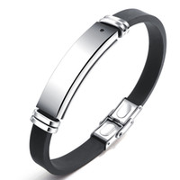 Wholesale id bracelet resale online - Stainless Steel Engravable Men Bracelet ID Bangle Healthy Energy Black Stone Magnetic Therapy Bracelet Silicone Adjustable Size PH1276