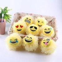 bad schwämme zubehör großhandel-Expression Bad Blumen-Karikatur Emoji Modelling Badkugel Milch Dusche Zubehör Badezimmer Zubehör Luffa-Schwamm-Ineinander greifen OOA7361-5