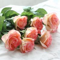 buquês de látex venda por atacado-Planta Falso Festa de casamento Bouquet dama 8pcs Toque real Latex Rose Silk flores artificiais buquê de noiva Home Decor