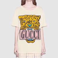 ingrosso stampa la faccia della tigre-2019 Hotsale Designer T-Shirt Big G Letter Tiger Face Print Pullover manica corta marchio di moda Camicette Casual O Neck Uomo Donna B100088L