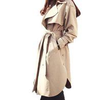 abrigo de color caqui al por mayor-Nueva primavera otoño moda Casual mujer caqui Trench Coat ropa de abrigo larga ropa suelta para dama con cinturón