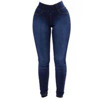 damen-mode slim fit jeans großhandel-Wipalo Womens Plus Size Mode Slim Fit Stretchy Röhrenjeans Casual Solid Denim Blue Pencil Hosen Damen Hose 3XL Hosen