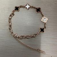 ingrosso monili dell'oro bianco del braccialetto 18k-Nuovo braccialetto del progettista del fiore del trifoglio Per le donne Signore Titanium acciaio Braccialetto di modo oro rosa nero gioielli di lusso bianco Spedizione gratuita