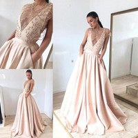 Wholesale evening dresses online - 2019 Gorgeous Sheer Illusion Style Evening Dresses A Line Cap Sleeve Beads Pearls Appliques Satin Pageant Prom Gowns With Pockets BC1460