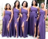 um ombro vestidos para damas de honra venda por atacado-Sul-africano lavanda um ombro vestidos de dama de honra frente dividir chiffon vestido de noite vestidos de festa de casamento dama de honra vestido bm0895
