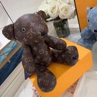 cuir rembourré achat en gros de-Cadeaux de Noël pour bébé enfants Ours conjoint cuir peluche 37cm ours en peluche Pendentif