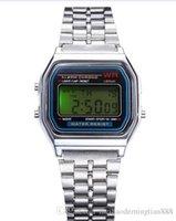 alarme de cinto venda por atacado-Aço novo F-91W LED relógio eletrônico Sports inoxidável Cinto Fino Alarm Clock Relógios Homens Mulheres Estudantes Data Digital relógio de pulso Bandas 568