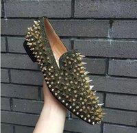 vestido popular para la fiesta al por mayor-Nueva marca popular Gentleman Red Bottom Dandelion Spikes zapatos mocasines para hombre, mezcla de tachas vestido de fiesta de negocios Oxfords con caja