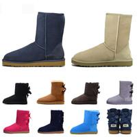 Wholesale floral print rubber boots for sale - Group buy 2020 WGG designer boots Australia women girl classic luxury snow boots bowtie ankle Half bow fur boot winter black Chestnut shoes size