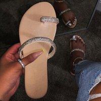 zapatillas de cristal plano al por mayor-Las mujeres cristalinas del verano plana zapatillas de Bling de las chancletas no Slip tanga Diapositivas Mujer punta abierta Fuera de zapatos de la playa de moda casual
