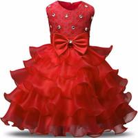 Wholesale ruffled lace clothes resale online - 9 colors Retail flower girl dresses little girls pageant dresses Children Fashion Bow diamond Formal Gown Ball princess dress Kids Clothes