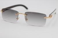 güneş gözlüğü unisex beyaz toptan satış-Ücretsiz kargo Yeni Stil 8200757 Gözlük Hakiki Doğal siyah ve beyaz dikey çizgili Manda Boynuzu Çerçevesiz 8200758 Güneş Gözlüğü 2019 Unisex