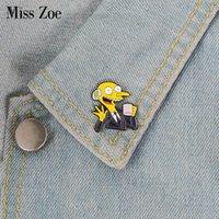 tvs china venda por atacado-Mr. Burns esmalte pin Coffee Time Meme crachá broche de Lapela pin para Denim Jeans camisa saco Dos Desenhos Animados Presente Da Jóia Da Tevê para Os Fãs amigos