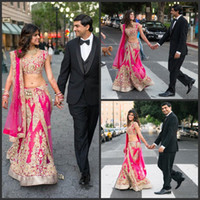 vestidos indios piezas al por mayor-2019 nuevos vestidos de novia indios elegantes de dos piezas Apliques V Escote Sirena con cuentas vestidos de novia hasta el suelo con vestido