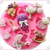 ingrosso torta di piedi del bambino-Stampo di sapone rotondo di gel di fenicottero muffa della torta di silice rosa bambino commestibile può mettere piedi prodotti di cottura forno apparecchio manuale fai da te 2 4amb1