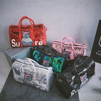 Wholesale space travel online - Travel Sequins Women Gym Bag Cartoon Fitness Handbag Men Fashion Outdoor Shoes Separate Space Personality Sports bag TTA564