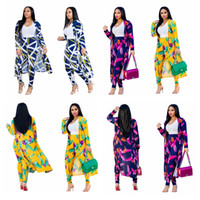 Wholesale outfit clothes for sale - Women Floral Print Cape Fashion Flower Print Two Piece Set Coat Long Pants Bodycon Pants Suit Casual Clothes Outfits GGA2055