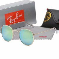 óculos de sol de qualidade aaa venda por atacado-2019 Moda Retro Rodada Óculos De Sol Para Mulheres Homens Espelho Gradiente Redondo De Metal óculos de Sol do vintage 3447