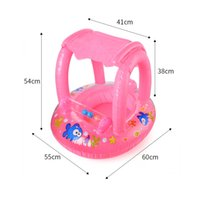 Wholesale infant play seat resale online - Baby Inflatable Float Swim Seat Boat With Sun Shelter Summer Kids Ride on Swim Ring Infant Water Play Swim Pool Accessories