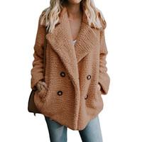 bayanlar rahat ceket üstleri toptan satış-2019 Plus Size S-3XL Katı Coat Kadınlar Geniş Yaka Gevşek Sıcak Ceket Dış Giyim Kadın Casual Jumper Bayanlar Gevşek Faux Kürk Blend ceketler Tops