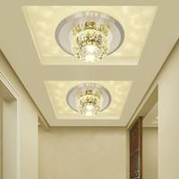 ingrosso passaggio corridoio-Crystal Modern 3W 5W Aisle LED lampada da soffitto soggiorno corridoio di cristallo faretti corridoio luci di soffitto plafoniere a LED luce lampadario