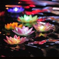 piscina agua decoraciones flotantes al por mayor-Diámetro 18 cm Lámpara de loto LED en piscina de agua flotante cambiada colorida que desea lámparas de luz Linternas para decoración de fiesta