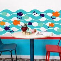 etiquetas da parede do oceano dos desenhos animados venda por atacado-venda Contornando Linha Blue Fish pequena sala de estar TV PVC Wall Decals / Adhesive da família do oceano / Wall dos desenhos animados Adesivos Mural Art Home Decor Hot