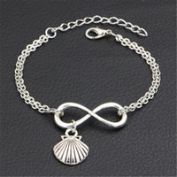 Wholesale seashell bracelet diy for sale - Group buy Silver Color Double Infinity Love Sea Shell Conch Seashell Pendant Cuff Bracelet for Women Men Link Chain Fit Fine Jewelry DIY Handmade Gift