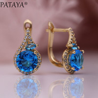 Wholesale brass horse jewelry for sale - Group buy PATAYA New Women Fine Noble Horse Eye Dangle Earrings Rose Gold Round Blue Natural Zircon Wedding Party Cute Fashion Jewelry