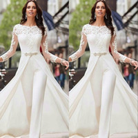 Wholesale crystal covered lace wedding dress for sale - Group buy White Jumpsuits Pants Long Sleeve Wedding Dresses Lace Satin With Overskirts Beads Crystals Plus Size Bridal Gowns Vestidos De Novia