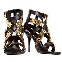 talons du soir en or achat en gros de-Chaude lettre d'or découpée sexy gladiateurs femmes talon aiguille peep toe sandales d'été soirée soirée pompes Feminino High Qulity